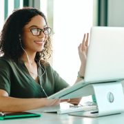 Woman on video conferencing call while working from home